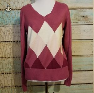 New York and Co Pink Chevron Bling Sweater Sz Med